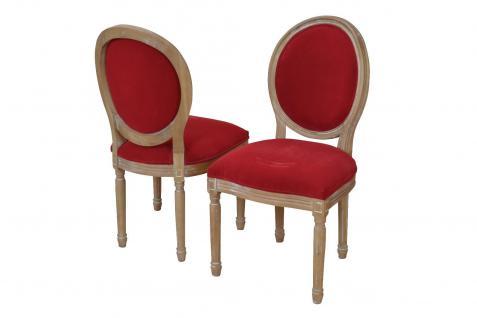 Polsterstuhl Vintage massivholz Samtbezug rot Esszimmerstuhl antik design neu
