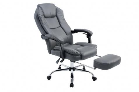 Chefsessel grau Kunstleder 130 kg belastbar Bürostuhl Schreibtischstuhl stabil