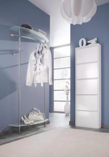 Wandgarderobe mit Ablagen Glas/Metall Garderobenleiste Garderobe Flurgarderobe