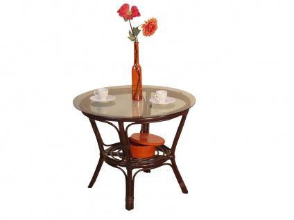 Rattantisch braun Tisch Wohnzimmertisch Sofatisch Rattan Klarglasplatte Glas neu