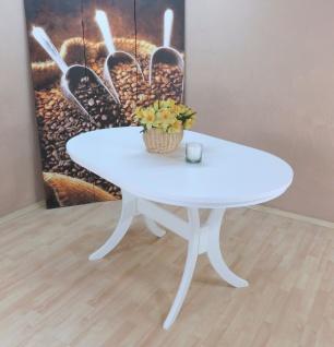 Auszugtisch mit Einlegplatte weiß massivholz oval edler Esstisch modern design - Vorschau