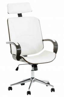 Bürostuhl 130 kg belastbar weiß / grau Kunstleder Chefsessel Holzrahmen