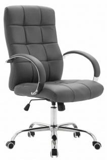 Bürostuhl bis 120 kg belastbar grau Kunstleder Chefsessel hochwertig klassisch