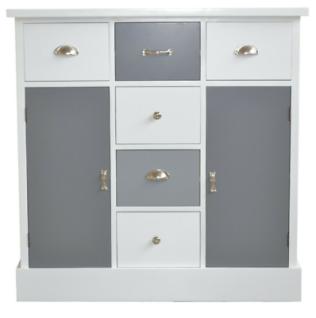 Kommode weiß/grau Anrichte Schubladenkommode Schrank 6 Schubladen 2 Türen modern