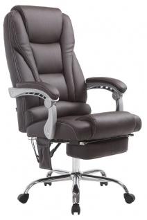 Chefsessel braun Massagefunktion Fußablage Kunstleder Bürostuhl hochwertig