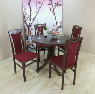moderne Tischgruppe 5 tlg. massivholz nuss bordeaux Essgruppe preiswert günstig