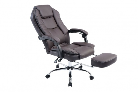 Chefsessel braun Kunstleder 130 kg belastbar Bürostuhl Schreibtischstuhl stabil