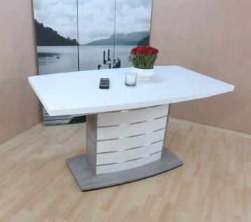 Esszimmertisch weiß beton silber Auszugtisch Säulentisch günstig preiswert neu
