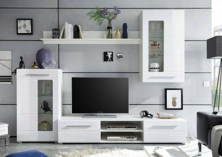 Wohnwand Hochglanz weiß Schrankwand Anbauwand Wohnzimmerwand modern design