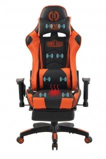 Bürostuhl orange Chefsessel Wärme- und Massagefunktion Gaming Gamer Zockersessel