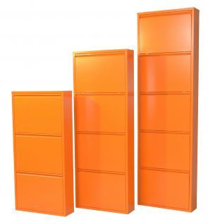 moderner Metall-Schuhschrank orange 5 Klappen Schuhkipper Schuhregal design neu