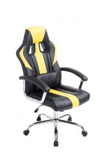 Bürostuhl 150 kg belastbar schwarz gelb Kunstleder Chefsessel schwere Personen