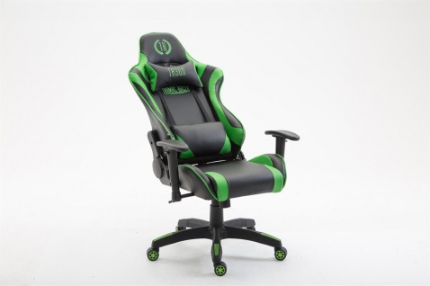 Bürostuhl schwarz grün Kunstleder Chefsessel Zockersessel Gaming belastbar