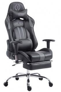 Chefsessel schwarz grau Kunstleder Bürostuhl Kopfstütze Fußstütze Zocker Gamer