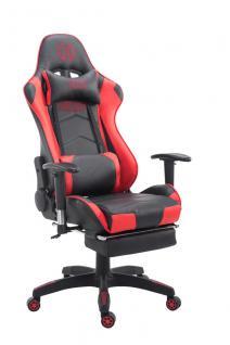 Bürostuhl 150 belastbar schwarz rot Kunstleder Chefsessel Kopfstütze Fußstütze