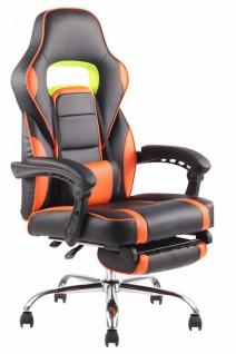 Bürostuhl 136kg belastbar schwarz orange Kunstleder Chefsessel Fußablage Stütze