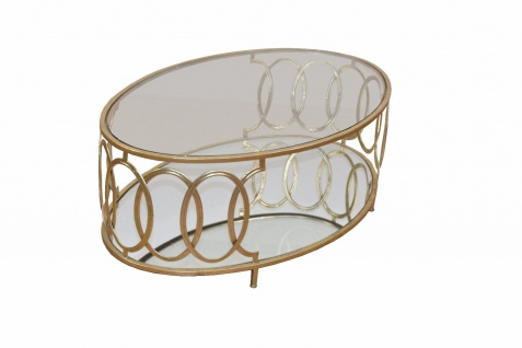 Couchtisch Tisch Beistelltisch Glastisch Metalltisch Metall/Glas Farbe Gold neu - Vorschau 3