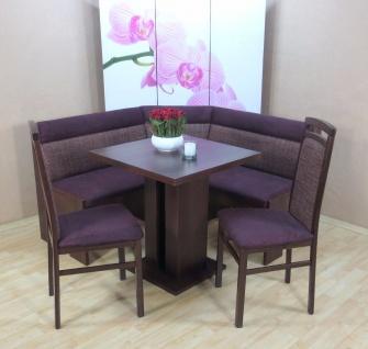 Truheneckbankgruppe nuss dunkel bordeauxrot Essgruppe 2 x Stühle Esstisch modern