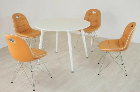 Tischgruppe mandarin weiß Essgruppe Esszimmergruppe Schalenstuhl modern design 2