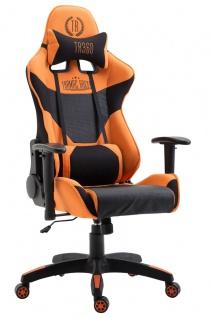 XL Racing Bürostuhl 136kg belastbar Stoffbezug schwarz orange Chefsessel Zocker