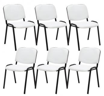6 x Besucherstuhl weiß Stuhlset Wartezimmer Messe stapelbar günstig preiswert
