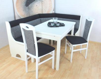 moderne Truheneckbankgruppe 4-tlg. Essgruppe Eckbankgruppe weiß schwarz design