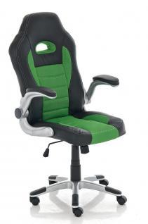 Bürostuhl schwarz grün Netzbezug Kunstleder Drehstuhl günstig preiswert stabil