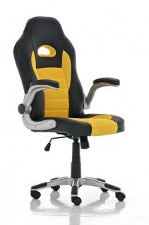 Bürostuhl schwarz gelb Netzbezug Kunstleder Drehstuhl günstig preiswert stabil