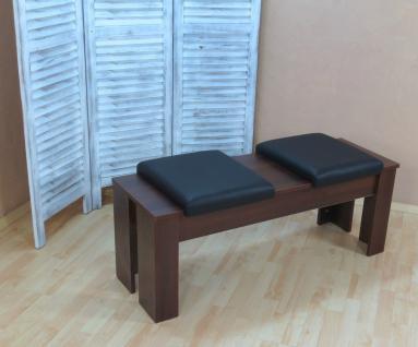 Sitzbank mit Kissen nußbaum dunkel Hockerbank Garderobenbank günstig preiswert