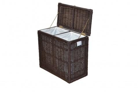 Wäschesortierer mit 2 Fächern Wäschekorb Wäschesammler Wäschetruhe braun Rattan