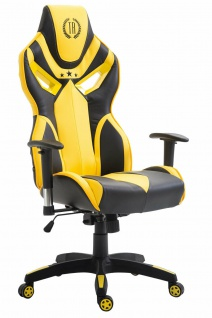 Bürostuhl 150 kg belastbar schwarz gelb Kunstleder Chefsessel Zockerstuhl Gaming