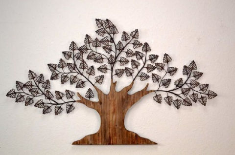 Wanddekoration Baum Wanddeko Deko Massivholz Metall braun Blätter Wandschmuck