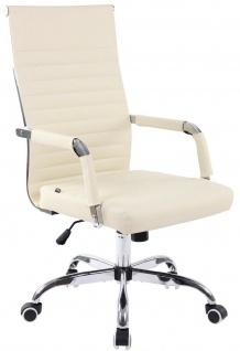 moderner Bürostuhl 120 kg belastbar Kunstleder creme Drehstuhl Chefsessel stabil