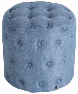 Sitzhocker Stoff blau Polsterhocker Stauraum Fußhocker rund modern Zierknöpfe