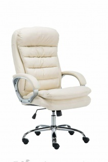 XXL Bürostuhl bis 235 kg belastbar Kunstleder creme Chefsessel schwere Personen