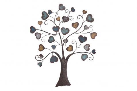Wanddekoration Baum Herzen Wanddeko Wandrelief Metall Blätter design modern