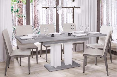 design Säulentisch Beton weiß Esstisch zweifarbig ausziehbar Auszug modern neu
