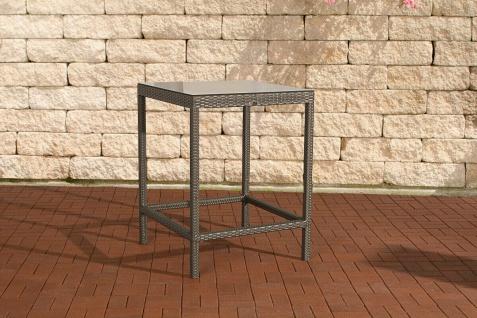 Polyrattan Garten Bartisch grau Gartentisch Esstisch Vierfuss Glastisch Outdoor
