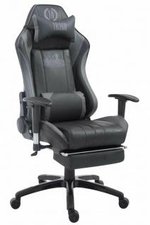 XL Bürostuhl 150 kg belastbar grau Chefsessel Fußstütze Gaming Zockersessel