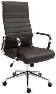 Bürostuhl 136 kg belastbar braun / chrom Echtleder Chefsessel Drehstuhl stabil