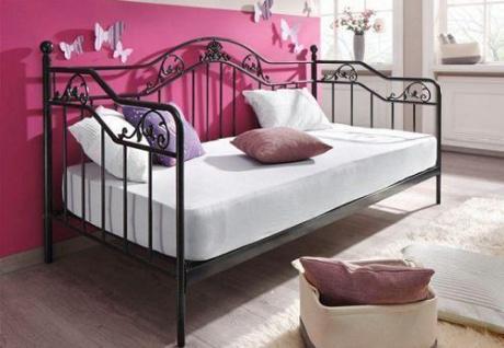 romantisches Tagesbett schwarz inkl. Lattenrost Day-Bed Metall günstig preiswert