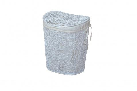 Wäschekorb weiß Rattanrohr handgeflochten Wäschetruhe Wäschebox Deckel Griff