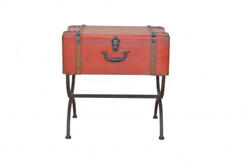 Beistelltisch Koffer Vintage massivholz Beitisch used look Metall Truhe Tasche - Vorschau 3