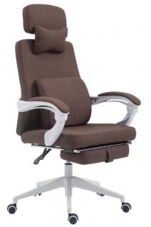 Bürostuhl Stoff braun klassisch Chefsessel mit Fußablage hochwertig modern