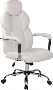 Bürostuhl 150kg belastbar Kunstleder weiß Chefsessel Drehstuhl modern stabil