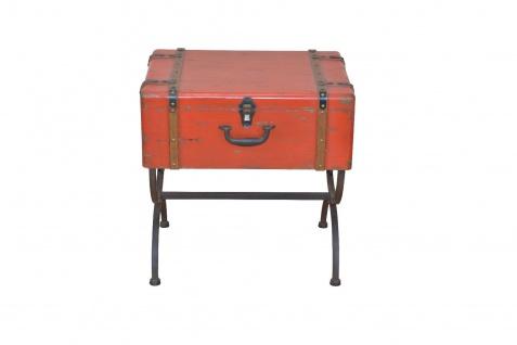 Beistelltisch Koffer Vintage massivholz Beitisch used look Metall Truhe Tasche - Vorschau 2