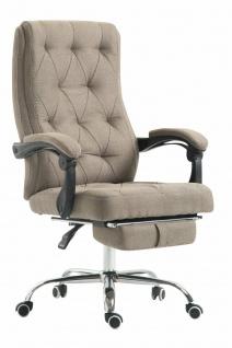XL Chefsessel 136kg belastbar taupe Stoffbezug Bürostuhl Fußablage modern design