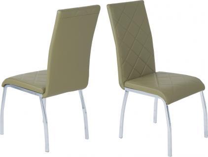4 x Esszimmerstühle olive Leder-Look Stuhlset Stuhlgruppe günstig preiswert neu