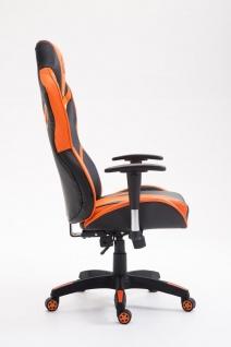 Bürostuhl 150 kg belastbar schwarz orange Kunstleder Chefsessel Zocker Gaming - Vorschau 3