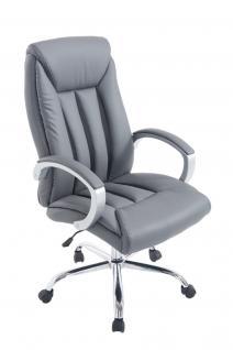 XXL Bürostuhl bis 150 kg belastbar grau feinstes Kunstleder edler Chefsessel